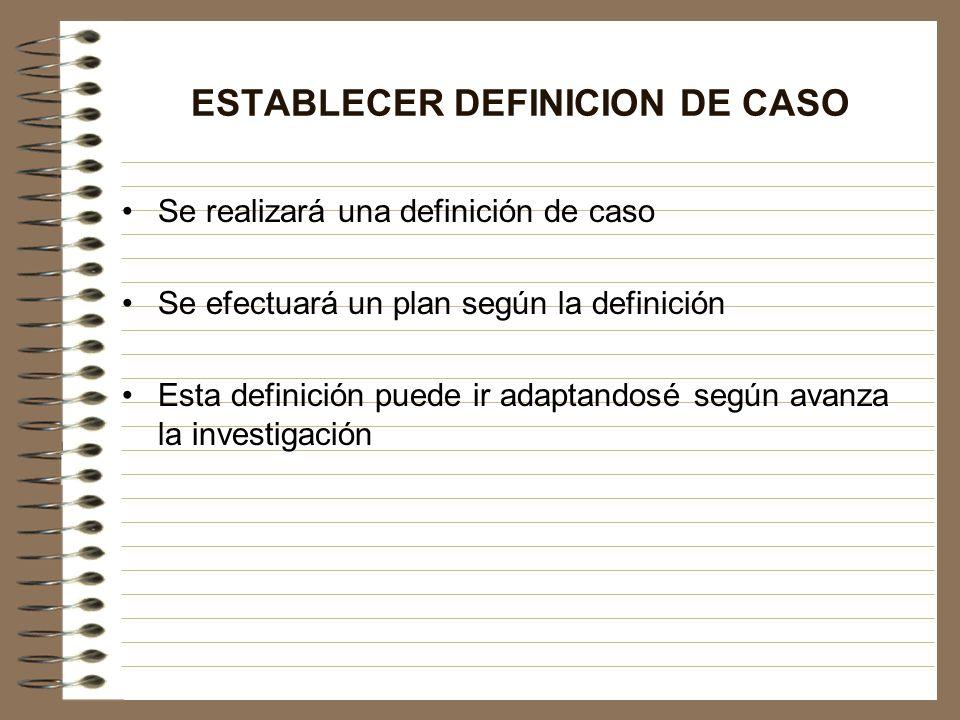 ESTABLECER DEFINICION DE CASO