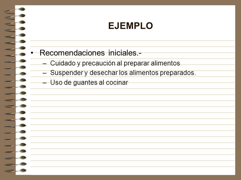 EJEMPLO Recomendaciones iniciales.-