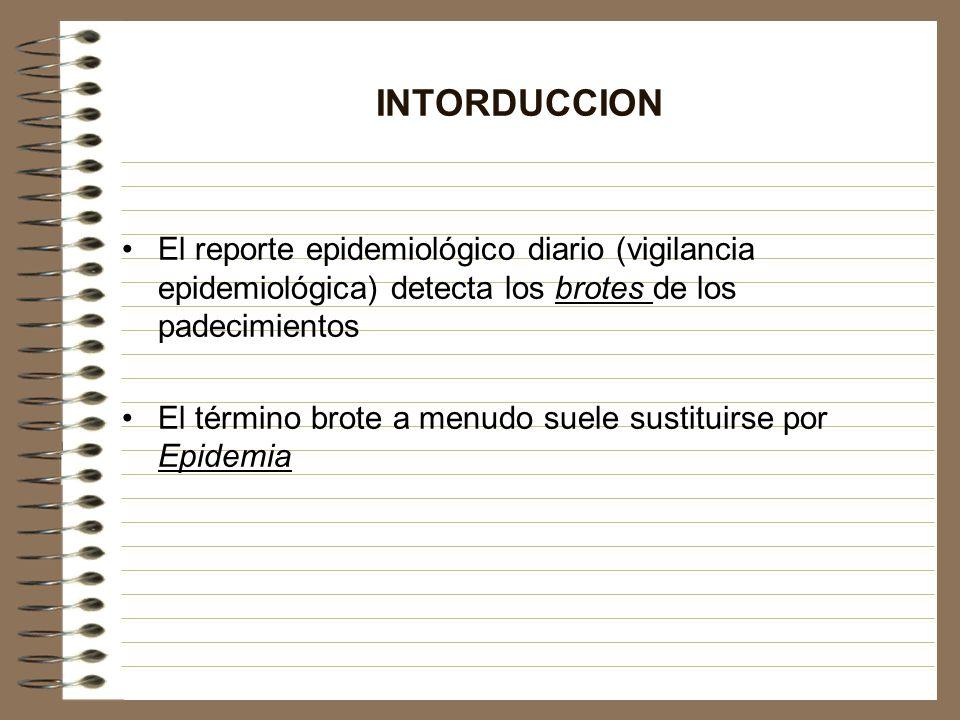 INTORDUCCION El reporte epidemiológico diario (vigilancia epidemiológica) detecta los brotes de los padecimientos.