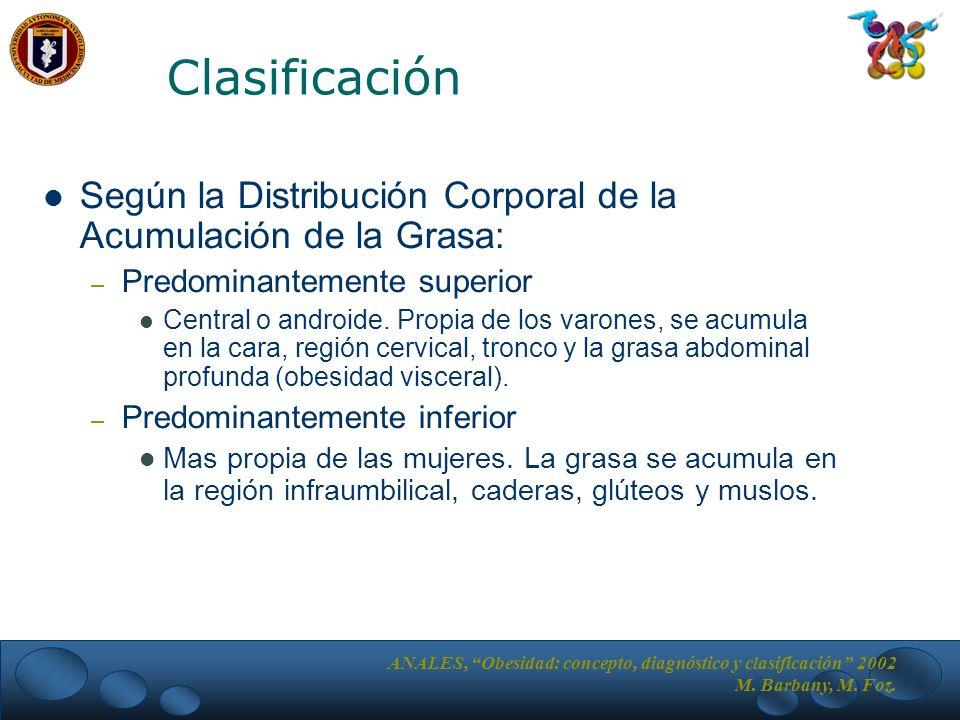 Clasificación Según la Distribución Corporal de la Acumulación de la Grasa: Predominantemente superior.