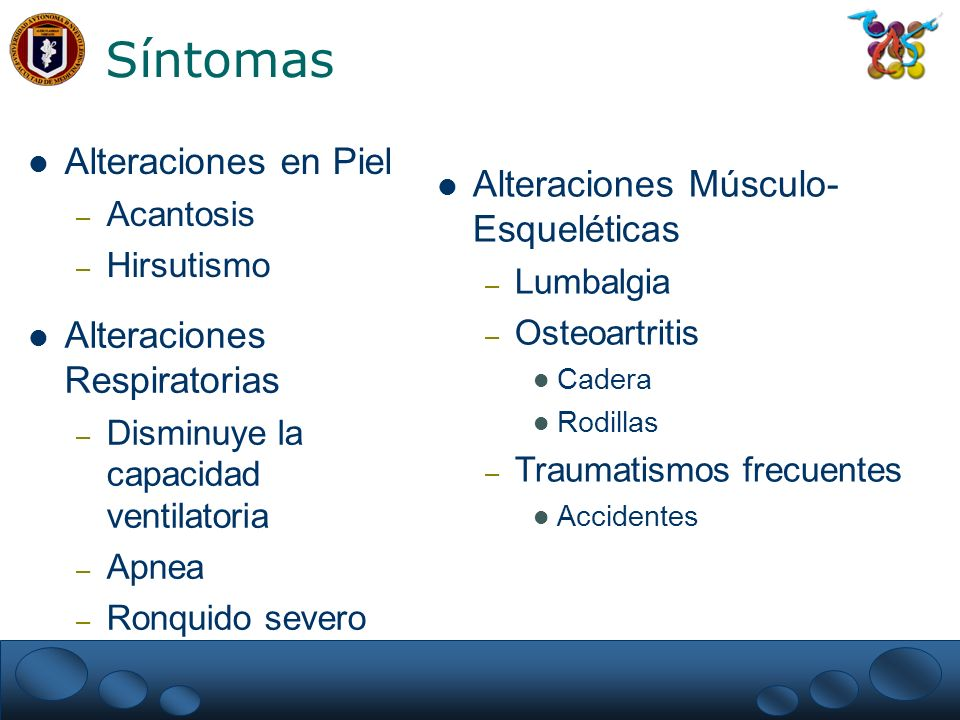 Síntomas Alteraciones en Piel Alteraciones Músculo- Esqueléticas