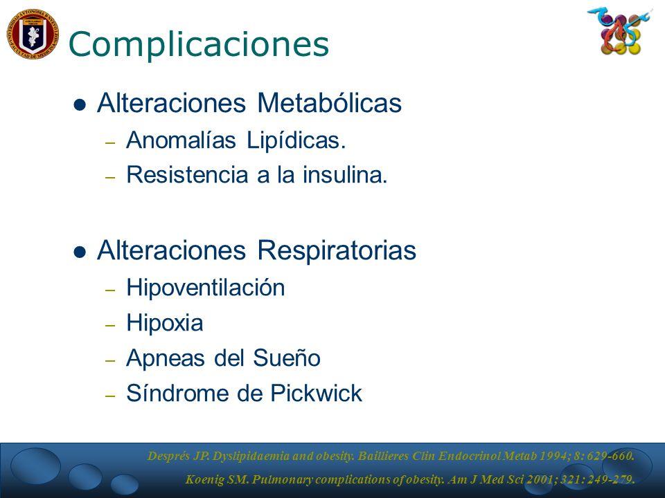 Complicaciones Alteraciones Metabólicas Alteraciones Respiratorias