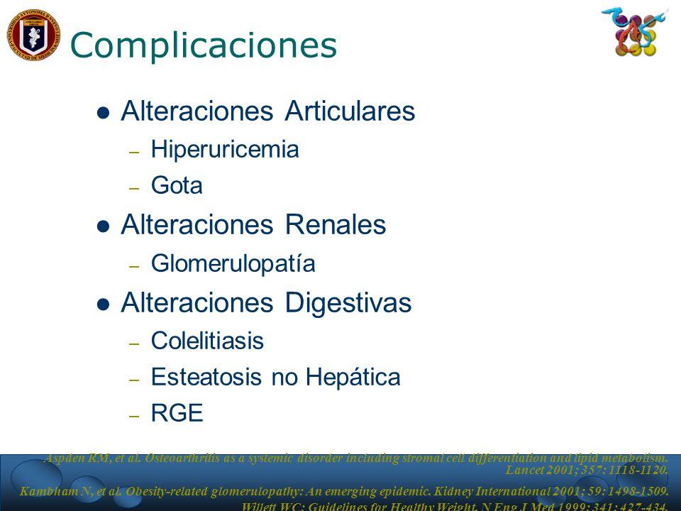 Complicaciones Alteraciones Articulares Alteraciones Renales
