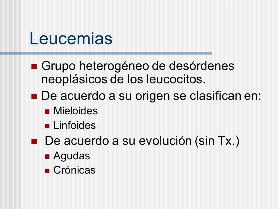 LeucemiasGrupo heterogéneo de desórdenes neoplásicos de los leucocitos. De acuerdo a su origen se clasifican en: