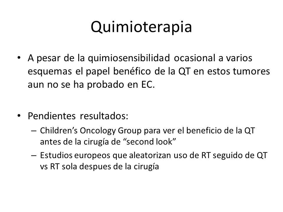 Quimioterapia A pesar de la quimiosensibilidad ocasional a varios esquemas el papel benéfico de la QT en estos tumores aun no se ha probado en EC.