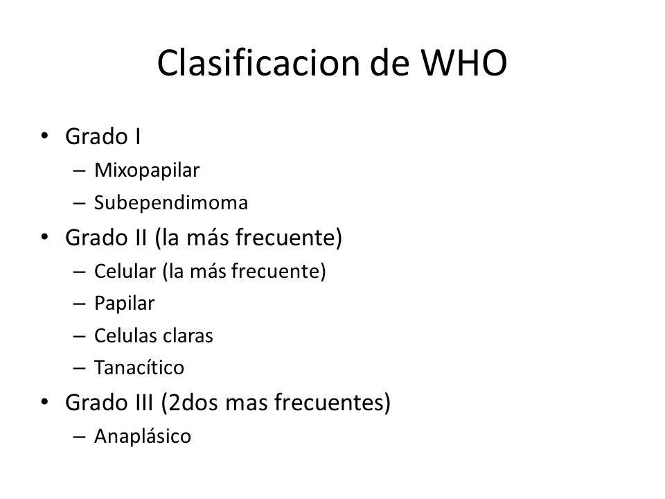 Clasificacion de WHO Grado I Grado II (la más frecuente)
