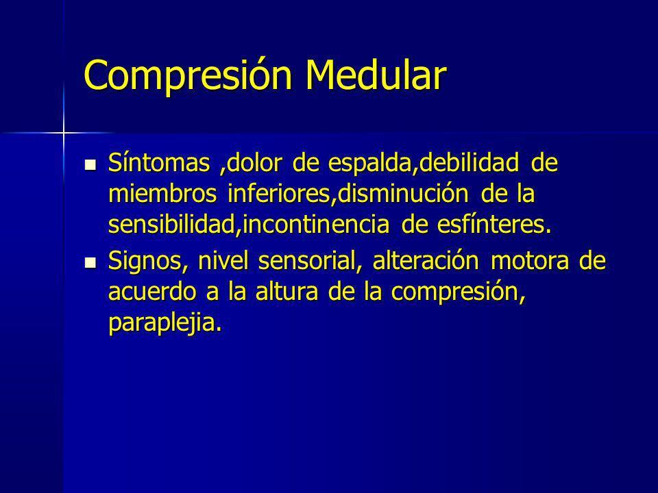 Compresión Medular Síntomas ,dolor de espalda,debilidad de miembros inferiores,disminución de la sensibilidad,incontinencia de esfínteres.