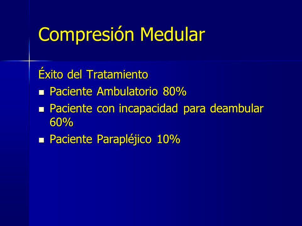 Compresión Medular Éxito del Tratamiento Paciente Ambulatorio 80%
