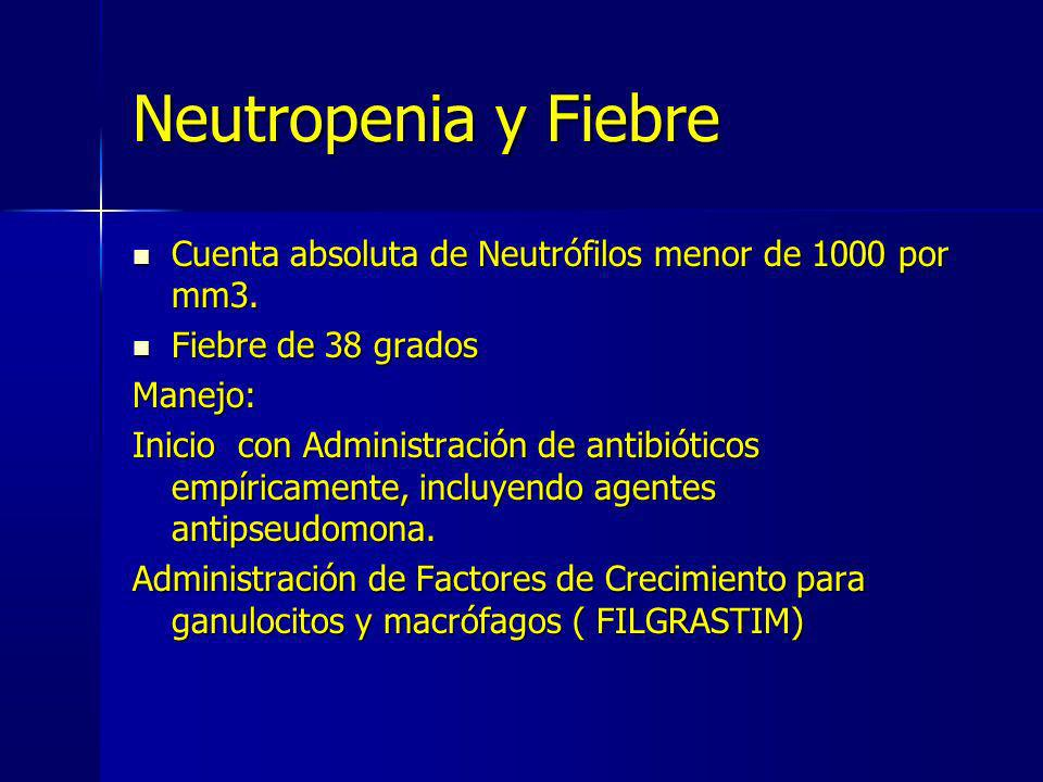 Neutropenia y Fiebre Cuenta absoluta de Neutrófilos menor de 1000 por mm3. Fiebre de 38 grados. Manejo: