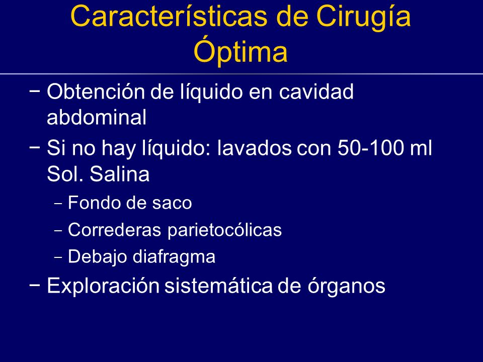 Características de Cirugía Óptima
