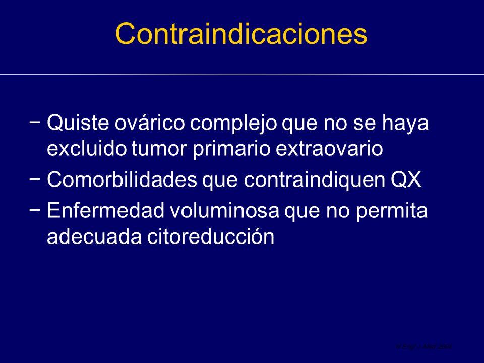 Contraindicaciones Quiste ovárico complejo que no se haya excluido tumor primario extraovario. Comorbilidades que contraindiquen QX.