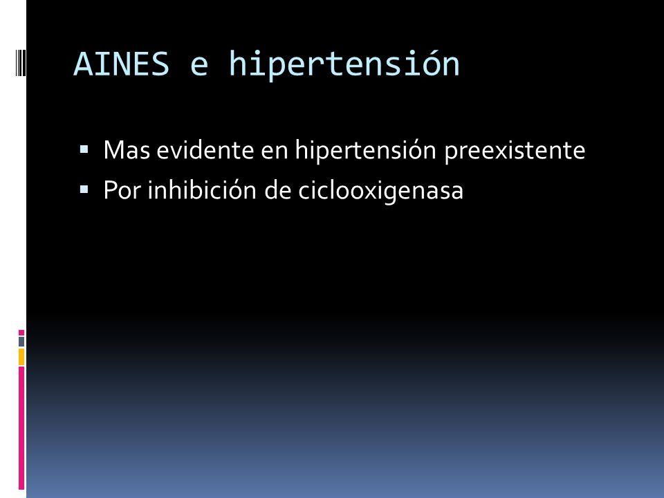 AINES e hipertensión Mas evidente en hipertensión preexistente