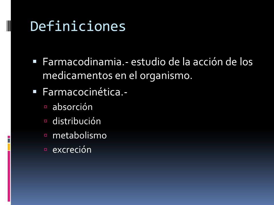 Definiciones Farmacodinamia.- estudio de la acción de los medicamentos en el organismo. Farmacocinética.-