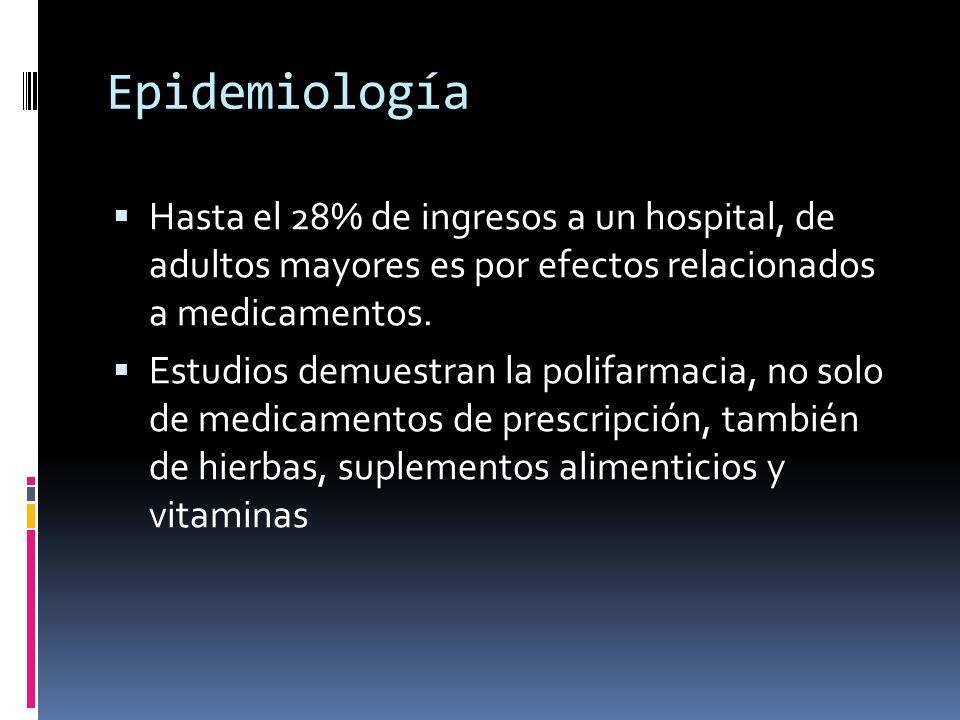 Epidemiología Hasta el 28% de ingresos a un hospital, de adultos mayores es por efectos relacionados a medicamentos.