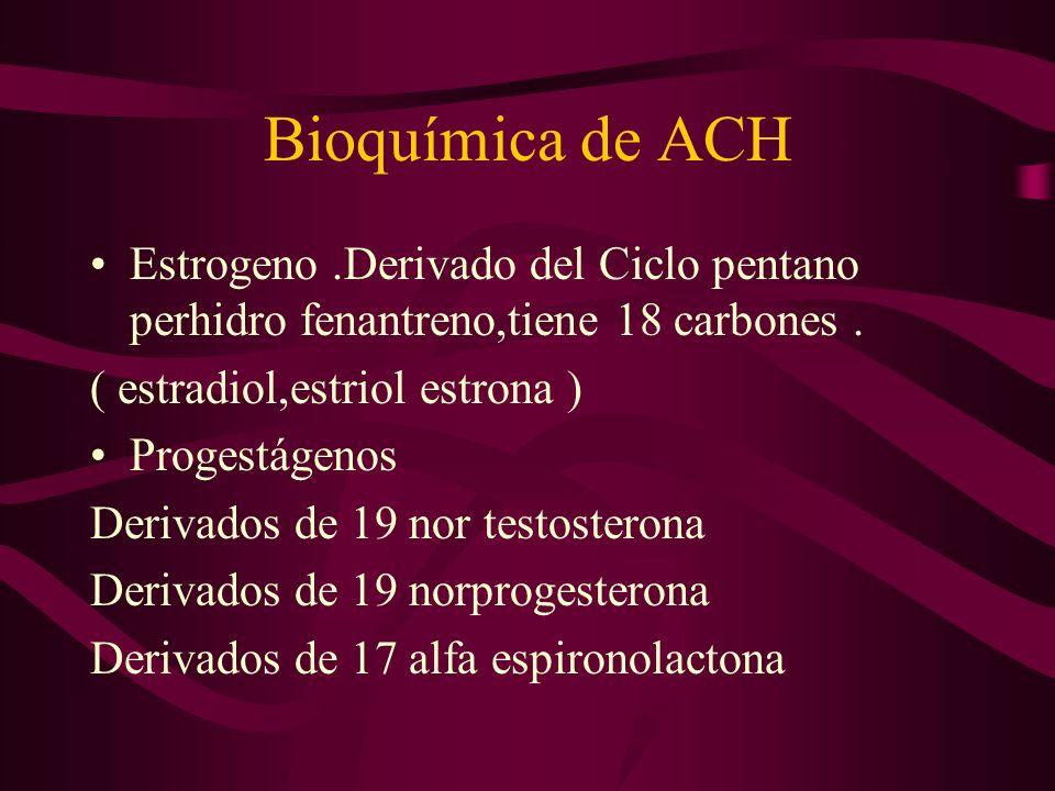 Bioquímica de ACHEstrogeno .Derivado del Ciclo pentano perhidro fenantreno,tiene 18 carbones . ( estradiol,estriol estrona )