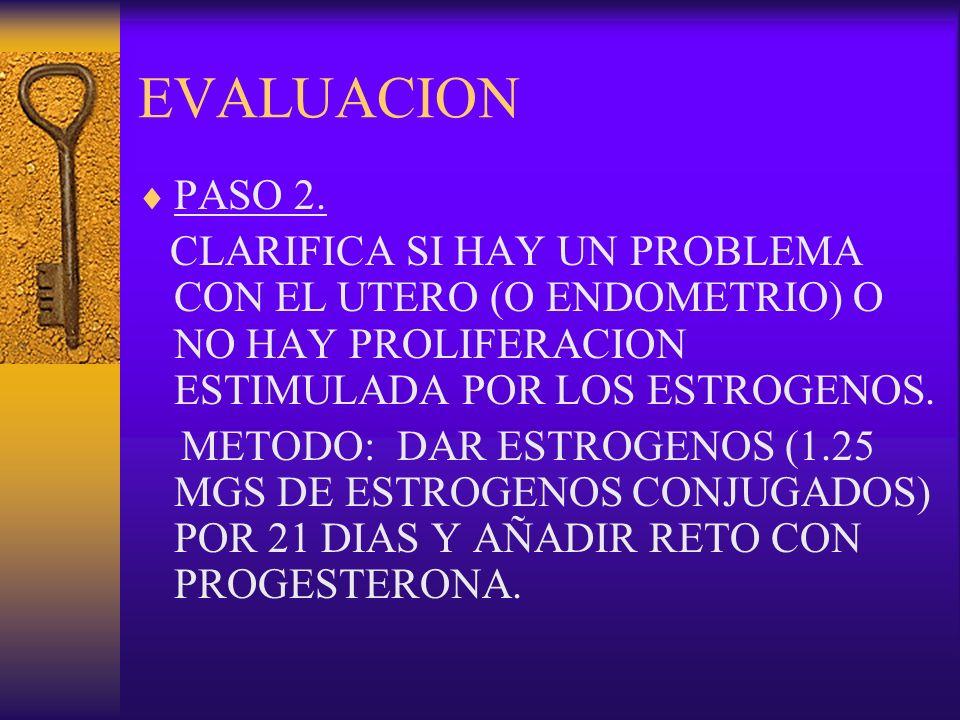 EVALUACION PASO 2. CLARIFICA SI HAY UN PROBLEMA CON EL UTERO (O ENDOMETRIO) O NO HAY PROLIFERACION ESTIMULADA POR LOS ESTROGENOS.
