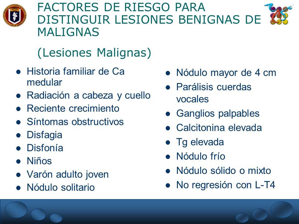 FACTORES DE RIESGO PARA DISTINGUIR LESIONES BENIGNAS DE MALIGNAS (Lesiones Malignas)