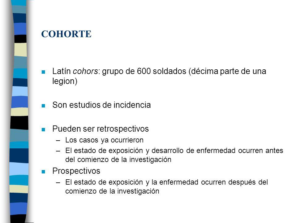 COHORTE Latín cohors: grupo de 600 soldados (décima parte de una legion) Son estudios de incidencia.