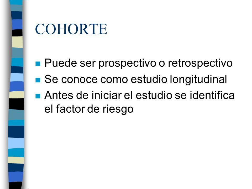 COHORTE Puede ser prospectivo o retrospectivo