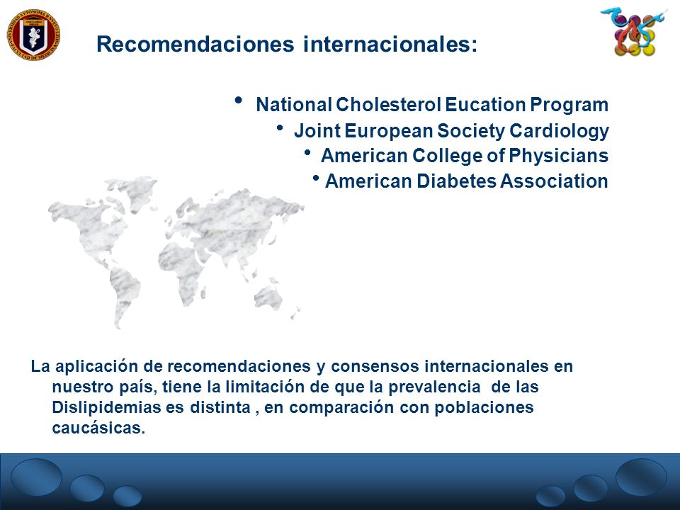 Recomendaciones internacionales: National Cholesterol Eucation Program