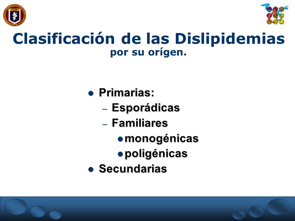 Clasificación de las Dislipidemias por su orígen.