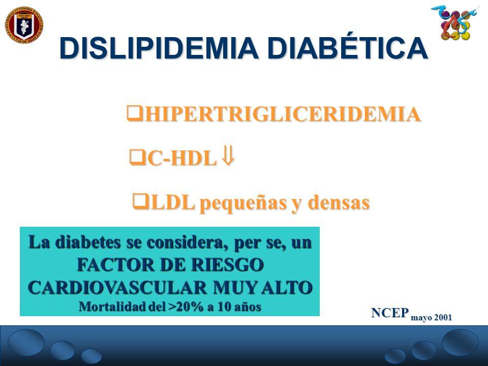 DISLIPIDEMIA DIABÉTICA Mortalidad del >20% a 10 años
