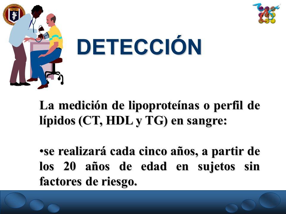 DETECCIÓNLa medición de lipoproteínas o perfil de lípidos (CT, HDL y TG) en sangre: