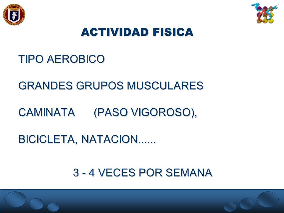 ACTIVIDAD FISICATIPO AEROBICO. GRANDES GRUPOS MUSCULARES. CAMINATA (PASO VIGOROSO), BICICLETA, NATACION......