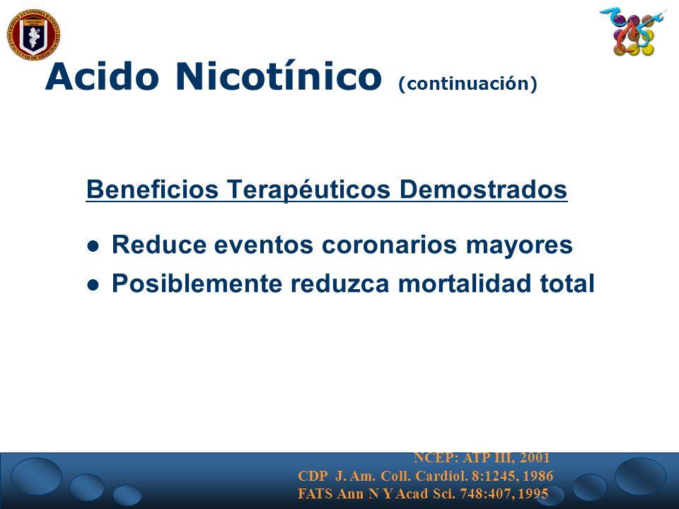Acido Nicotínico (continuación)