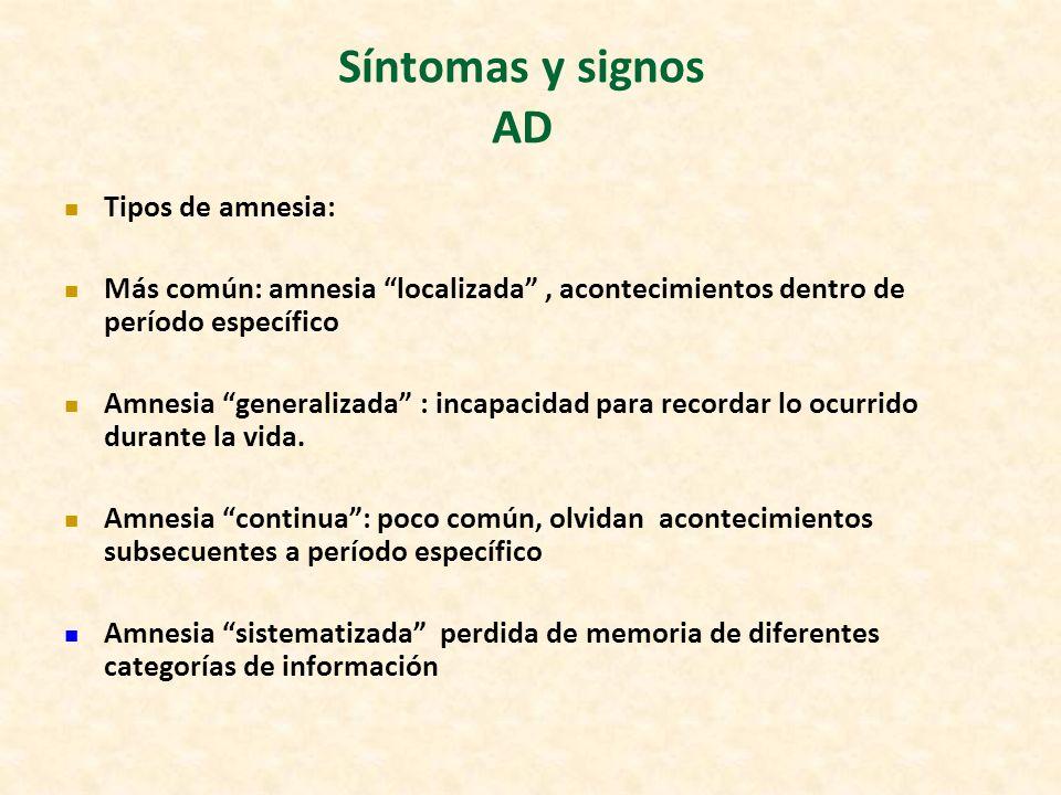 Síntomas y signos AD Tipos de amnesia: