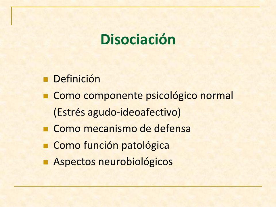 Disociación Definición Como componente psicológico normal
