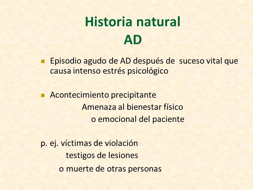 Historia natural AD Episodio agudo de AD después de suceso vital que causa intenso estrés psicológico.