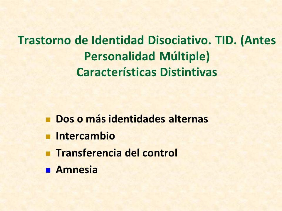 Trastorno de Identidad Disociativo. TID