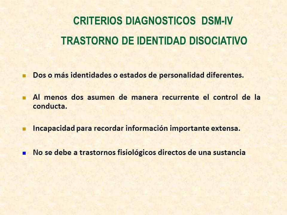 CRITERIOS DIAGNOSTICOS DSM-IV TRASTORNO DE IDENTIDAD DISOCIATIVO