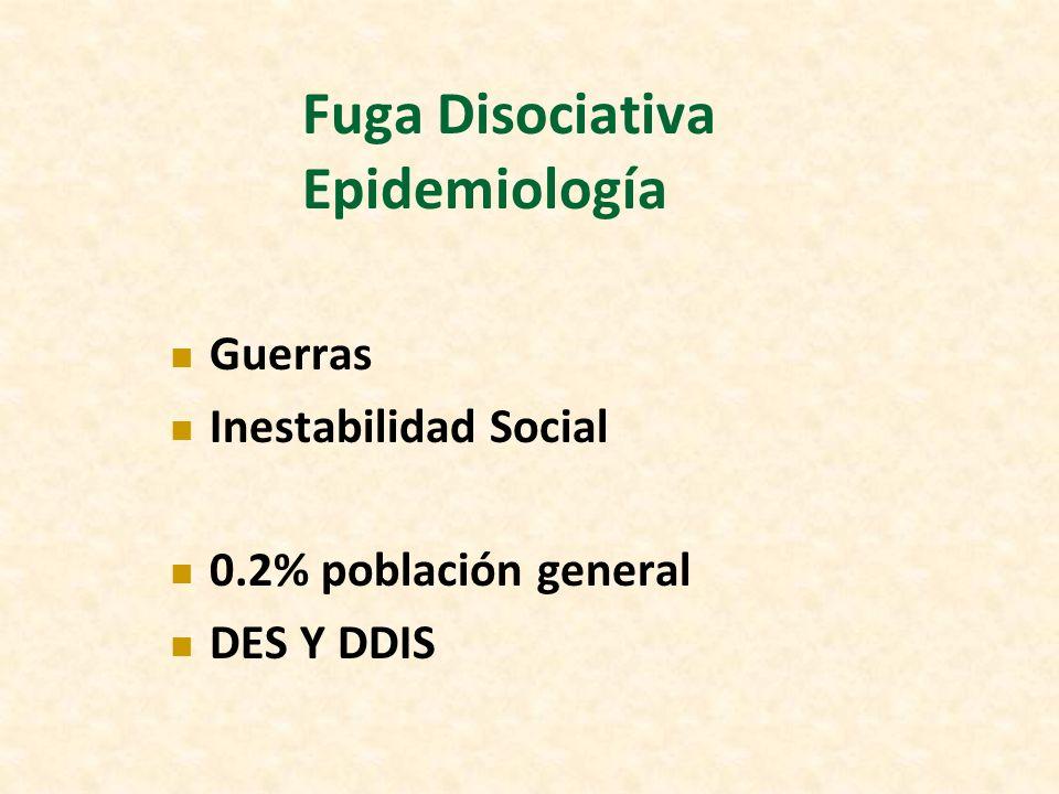 Fuga Disociativa Epidemiología