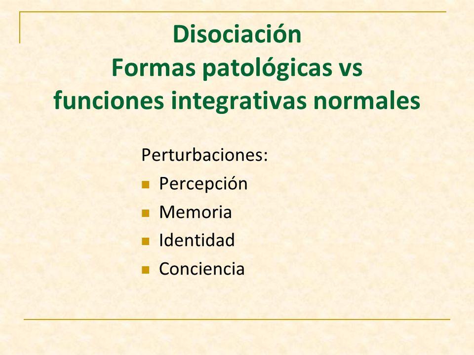 Disociación Formas patológicas vs funciones integrativas normales
