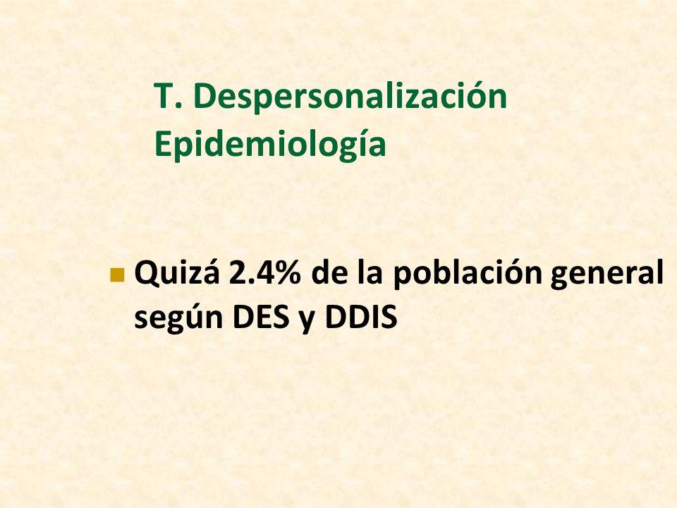 T. Despersonalización Epidemiología