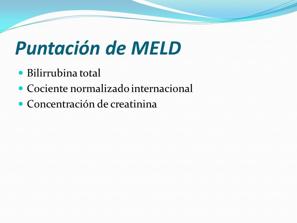 Puntación de MELD Bilirrubina total Cociente normalizado internacional