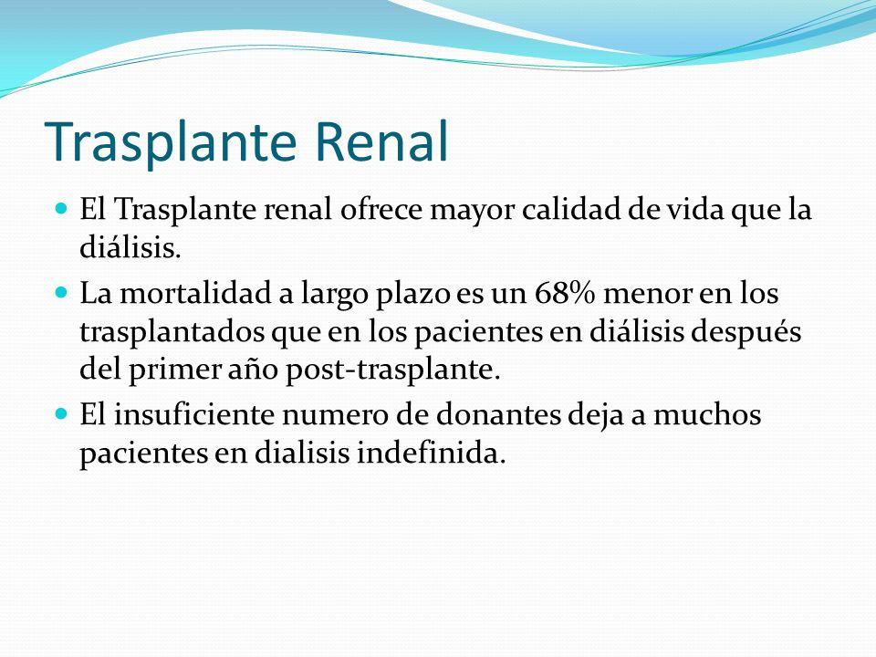 Trasplante Renal El Trasplante renal ofrece mayor calidad de vida que la diálisis.