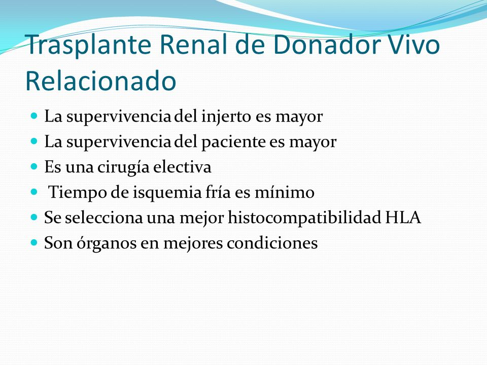 Trasplante Renal de Donador Vivo Relacionado
