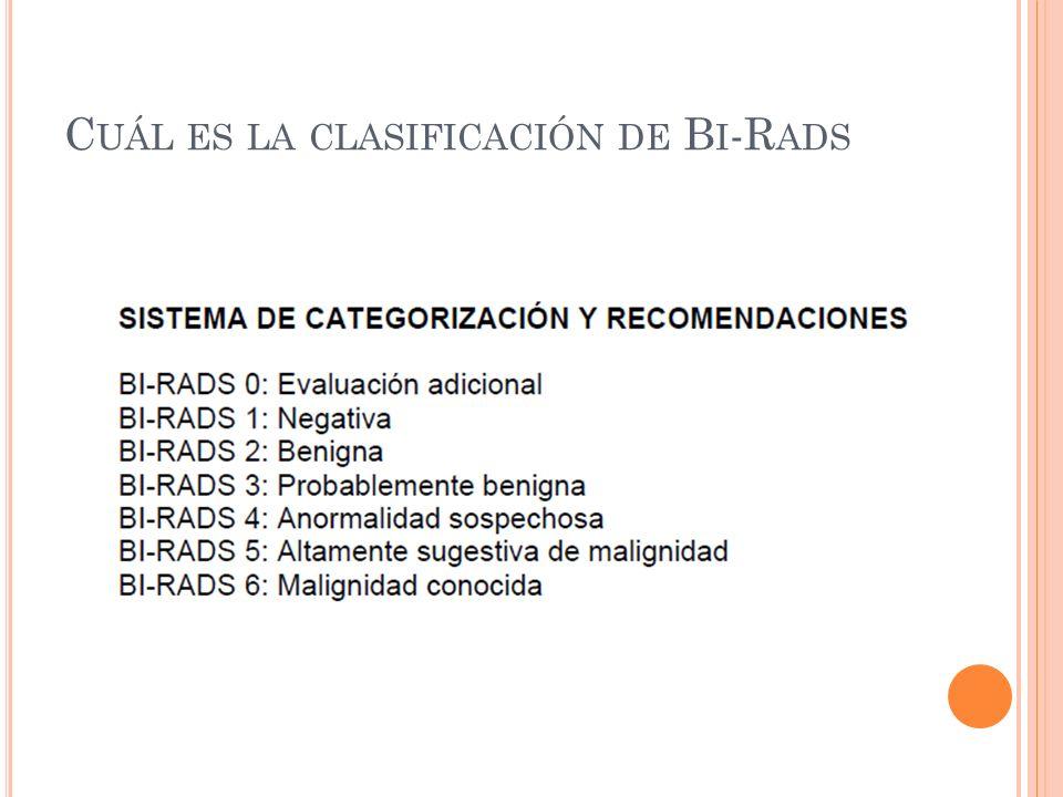 Cuál es la clasificación de Bi-Rads