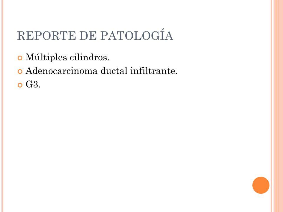 REPORTE DE PATOLOGÍA Múltiples cilindros.