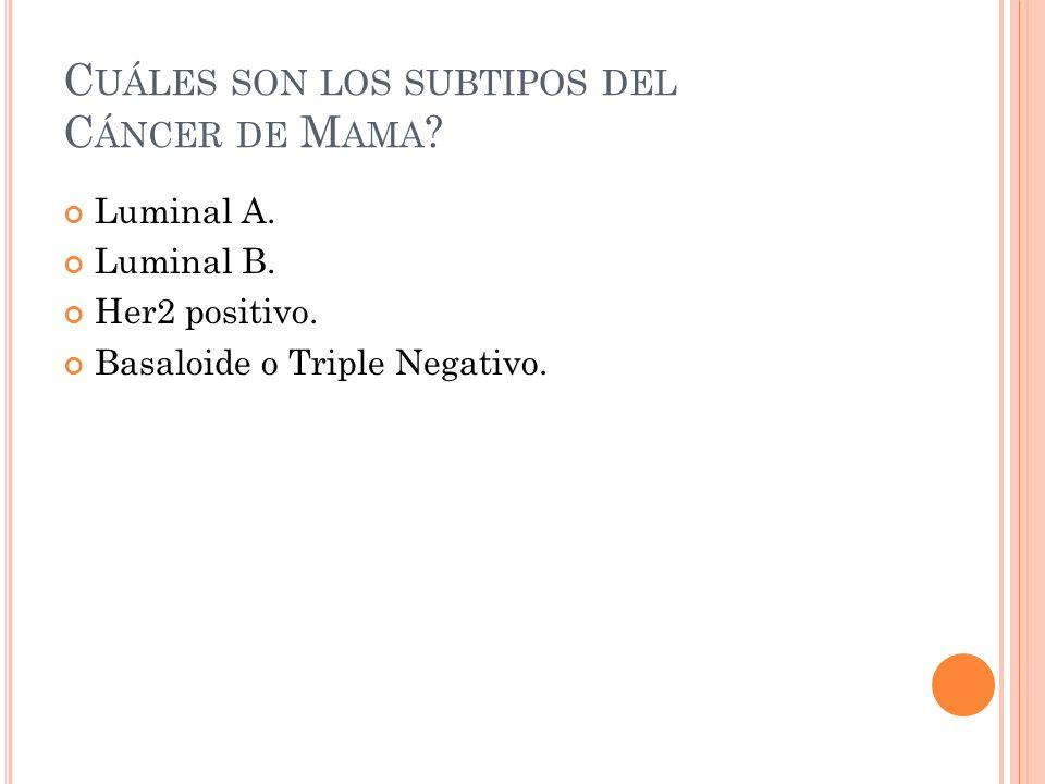 Cuáles son los subtipos del Cáncer de Mama