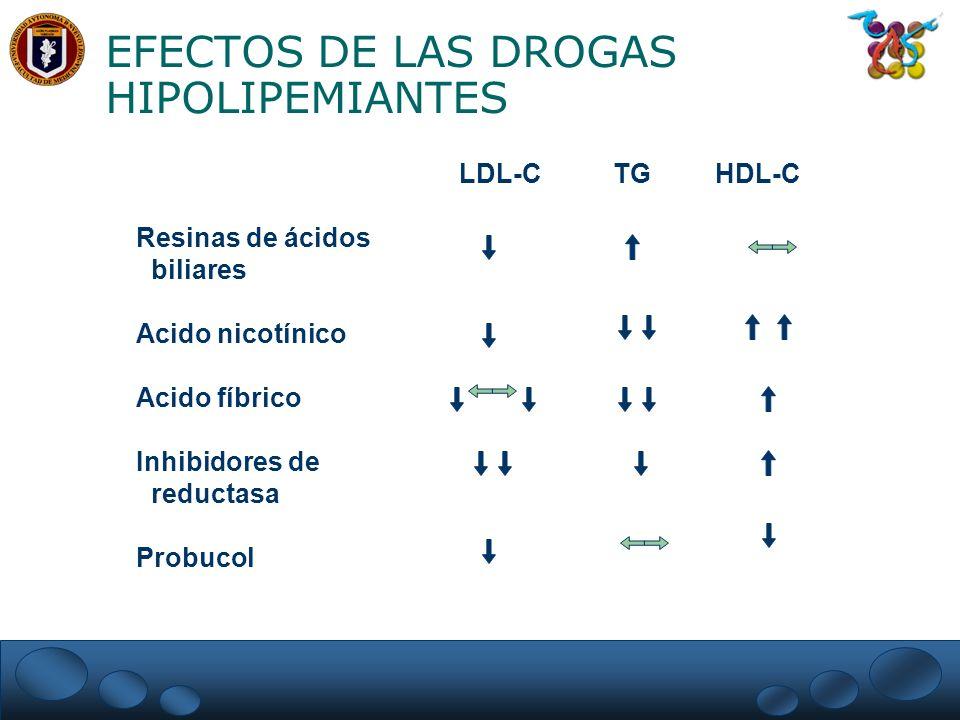 EFECTOS DE LAS DROGAS HIPOLIPEMIANTES