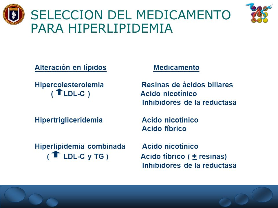 SELECCION DEL MEDICAMENTO PARA HIPERLIPIDEMIA