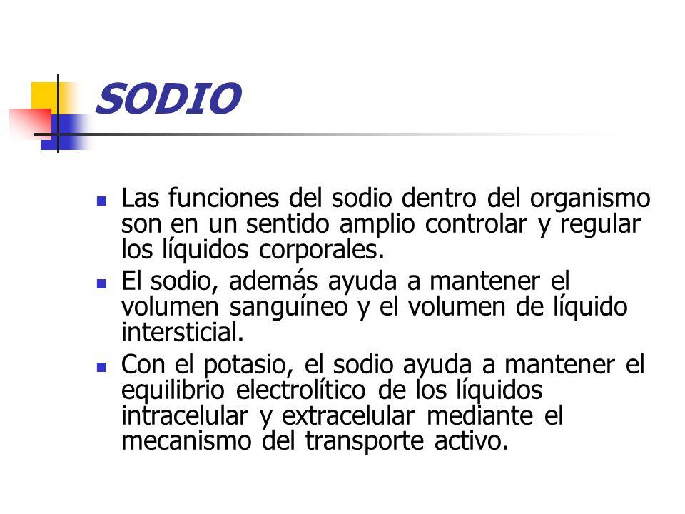 SODIO Las funciones del sodio dentro del organismo son en un sentido amplio controlar y regular los líquidos corporales.