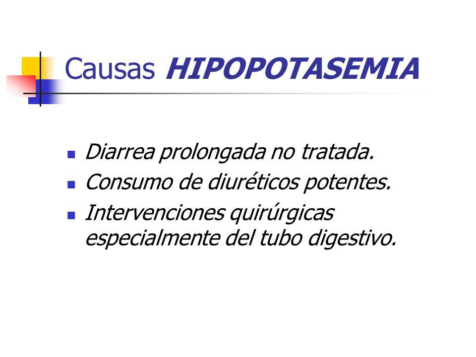 Causas HIPOPOTASEMIA Diarrea prolongada no tratada.