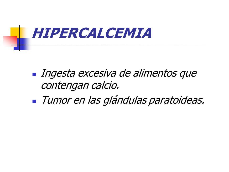 HIPERCALCEMIA Ingesta excesiva de alimentos que contengan calcio.