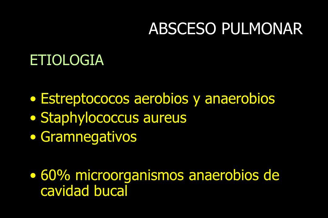 ABSCESO PULMONAR ETIOLOGIA Estreptococos aerobios y anaerobios
