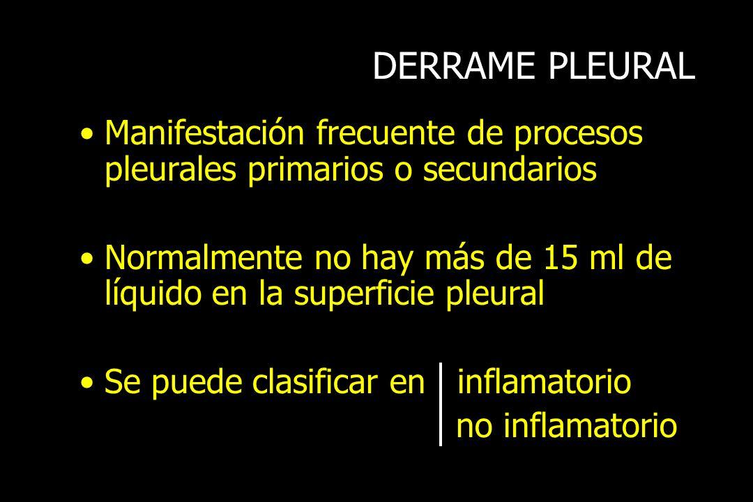 DERRAME PLEURAL Manifestación frecuente de procesos pleurales primarios o secundarios.